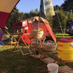 バスケット/かご/キャンプグッズ/生活の知恵/キャンプ/インテリア/... 家のキッチンで使っているカゴはキャンプで…