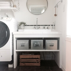 造作/タイル/トタンボックス/洗面所/インテリア/家具/... 我が家の洗面所。 無印のトタンボックスを…