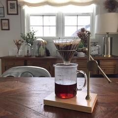 コーヒー/ドリップスタンド/コーヒードリップスタンド/風景/おでかけ/おうちごはん/... 新しいドリップスタンドを購入♬ 真鍮のパ…