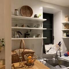 器/インテリアコーディネート/インテリア/キッチン雑貨/収納/キッチン/... 母から依頼を受けて、実家のキッチンの飾り…