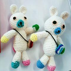 毛糸/編み物/ニット/編みぐるみ/ハンドメイド/手作り/... 余り糸で作ったアベックのあみぐるみ。肩か…(1枚目)