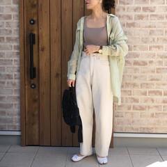 春コーデ/UNIQLO/ファッション UNIQLOのワイドリブスクエアネックブ…