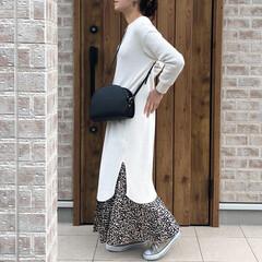 ママコーデ/ワンピース/ワッフル/ファッション スリットが可愛いGUさんのワッフルスリッ…