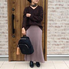 レオパードアイテム/ママコーデ/秋コーデ/ファッション 秋カラー🎶  ブラウンのニットに、ピンク…