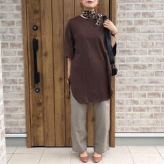 秋コーデ/GU/ファッション GU ヘビーウェイトオーバーサイズTのブ…