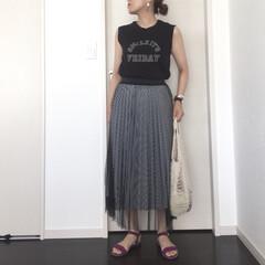 あみバッグ/ママコーデ/チュールスカート/ギンガムチェック/ファッション SENCE OF PLACEさんのギンガ…