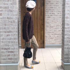 ニット/ママコーデ/ファッション カラーネップモヘヤニットが可愛い😍  ス…