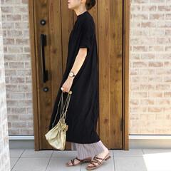 プリーツパンツ/ママコーデ/ファッション/おしゃれ/夏ファッション ブラックのロングシアーワンピース♡♡  …