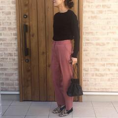 レオパード/スラックス/ファッション ピンクベージュのスラックスは、カラーと形…