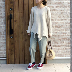 GU/コクーンシルエットパンツ/ダメージニット/カラーパンツ/ファッション GUさんの春のオススメ、タックコクーンシ…