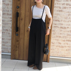 アシンメトリーカットソー/ママコーデ/サロペット/ファッション/おしゃれ 最近のお気に入り♡  ワイドサロペット♡…