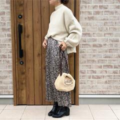 レオパード/ママコーデ/ボア巾着バッグ/ファッション 今年も活躍予定のホワイトボリュームスリー…