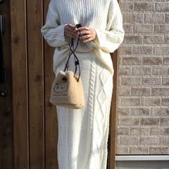 ケーブルニットスカート/ママコーデ/ファッション ケーブル編みのニットスカート♡  後ろス…