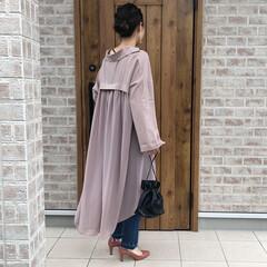ママコーデ/シャツワンピース/ファッション バックプリーツのデザインがかわいいシフォ…