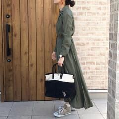 ファッション/シャツワンピース/ママコーデ merlotさんの開襟シャツワンピース👗…