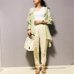 シェフパンツ/シアーシャツ/ママコーデ/おしゃれ/最近のコーデ シェフパンツ👩🍳って穿きやすい♡  ホ…