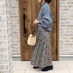 ママコーデ/レオパード/ニット/ファッション ニットの季節になりましたね✨✨ ふわふわ…(1枚目)