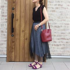 カラーサンダル/ギンガムチェック/チュールスカート/ファッション SENCE OF PLACEさんのギンガ…