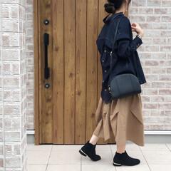 デニムシャツ/チノスカート/ファッション デニムシャツ×チノスカート♡  羽織りに…