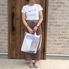 ロゴT/ママコーデ/ファッション ロゴTとワッフルのタイトスカートでシンプ…