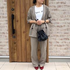 ジャケット/セットアップ/ファッション リネン素材のジャケットセットアップが可愛…