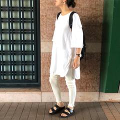 ママコーデ/ロングTシャツ/レギンス/ホワイト/夏コーデ/ファッション 夏のファッションアイテム2018♡  こ…