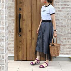 チュールスカート/ギンガムチェック/ZARA/リンガーTシャツ/ファッション ZARA さんのリンガーTシャツ着回しで…