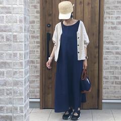 ママコーデ/リネン/ファッション リネン素材のリラックスできるワンピース♡…