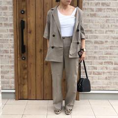 リネン/セットアップ/ファッション 大好きなベージュカラーの、リネン素材♡し…