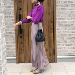ママコーデ/プリーツスカート/ファッション プリーツニットスカートのアイデア公開中で…