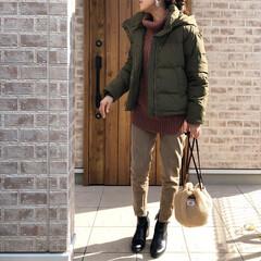 ケーブルニット/ママコーデ/ファッション 寒い日は、ダウンジャケットが暖かいですね…