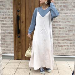 キャミワンピース/ワッフルクルーネックT/ユニクロ/ママコーデ/ファッション お気に入りのブルーのUNIQLOワッフル…