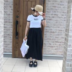 リネンスカート/モノトーン/ファッション 夏のモノトーンコーデ♡  ブラックのリネ…