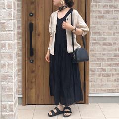 マキシワンピース/ママコーデ/ファッション ブラックコーデ🎶 マキシワンピースが涼し…