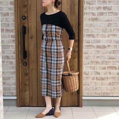 ママコーデ/ワッフルT/ビスチェワンピ/チェック/ファッション すっかり秋カラーです。 GUさんのワッフ…