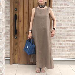 マキシワンピース/ママコーデ/ファッション リネン素材のマキシ丈ワンピース👗  涼し…