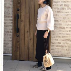 レギンスコーデ/リブニットスカート/ママコーデ/2018/ファッション めちゃくちゃわかりにくい写真ですが、こち…(1枚目)