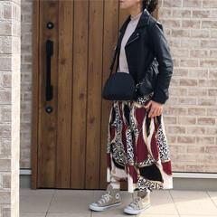 ライダースジャケット/ママコーデ/ファッション ライダースジャケット🎶 スカーフ柄スカー…(1枚目)