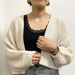 ママコーデ/カーディガン/ざっくりニット/ファッション 今年もボリューム袖のざっくりカーディガン…