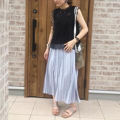 レーストップス/ママコーデ/ファッション/おしゃれ/夏ファッション レーストップスがお気に入りでよく着ていま…
