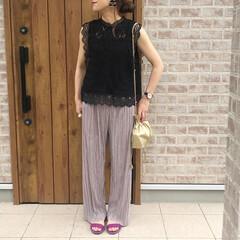 DHOLIC/プリーツパンツ/ママコーデ/おしゃれ/夏ファッション プリーツパンツ🎶 めっちゃはきやすくて、…(1枚目)