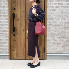チェック/リブタイトスカート/ファッション 秋らしいチェックのブラウスは、クロワッサ…