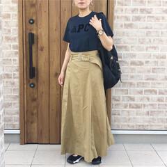 ママコーデ/ロゴT/ファッション 久々にチノスカート✨はきやすい♡  AP…