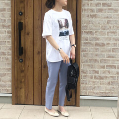 ママコーデ/カラーパンツ/フォトT/ファッション/おしゃれ フォトプリントT♡ アイデア公開中です💡…