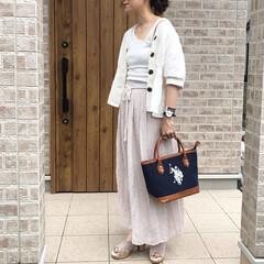 ママコーデ/リネン/ファッション ワンショルダータンクトップでトレンド感🎶…