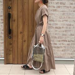 ビニールバッグ/ワンピース/ママコーデ/おしゃれ/夏ファッション 夏は涼しくて大好きワンピース😍  リネン…