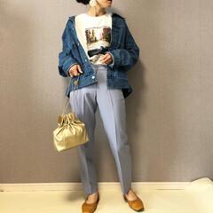 くすみブルー/フォトプリントTシャツ/カラーパンツ/ファッション/ママコーデ フォトプリントTシャツ🎶  くすみブルー…