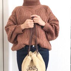 タートルネックニット/ケーブルニット/2018/ファッション titivateさんのケーブル編みタート…