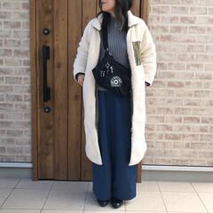 ママコーデ/ロングボアコート/ファッション ロングボアコート。 暖かすぎて、モフモフ…