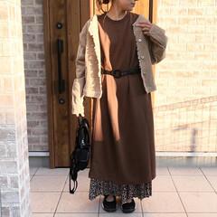 ママコーデ/ワンピース/ファッション 定番のスウェットワンピースも、スカートを…
